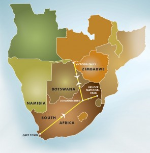 The Great Southern Safari map