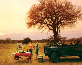Great Safaris' clients enjoying a typical 'sundowner'.