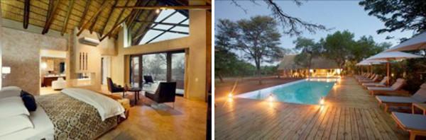 Kapama Southern Camp bedroom and pool area