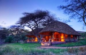 Tortilis Camp Amboseli Kenya dusk view