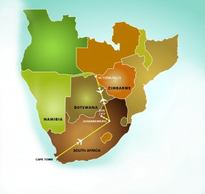 Our Golden Triangle Safari featuring South Africa & Victoria Falls map