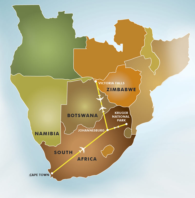 Southern Africa Map Great Safaris
