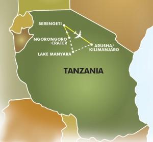 Greatest Show on Earth Tanzania Safari map