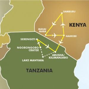 Lands of the Great Migration - Kenya & Tanzania map