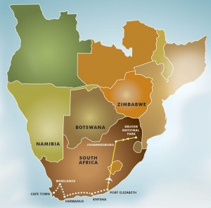 Winelands, Whales & Wildlife map
