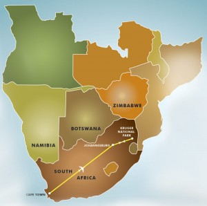 Cape Town, Winelands, North & South Kruger Park Beauty & The Beasts safari map